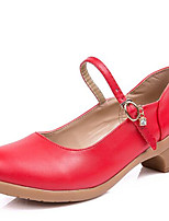 Women's Dance Shoes Leatherette Modern Dance Sneakers Low Heel Outdoor Red/Black/Fuchsia/Beige