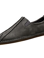Men's Loafers & Slip-Ons Comfort PU Spring Fall Outdoor Comfort Flat Heel Gray Brown Under 1in