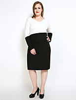 Really Love Women's Plus Size Casual/Daily Party Sexy Simple Cute Shift Sheath Black and White Dress,Color Block Patchwork V Neck Midi Long Sleeve