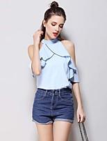 Tee-shirt Femme,Couleur Pleine Vintage simple Sans Manches Col Arrondi Coton