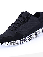 Men's Athletic Shoes Comfort PU Spring Fall Outdoor Comfort Lace-up Flat Heel Black Gray Black/White Flat
