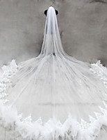 Bride Bridesmaids Beige / White Wedding Veil One-tier Cathedral Veils Lace Applique Edge Tulle Netting