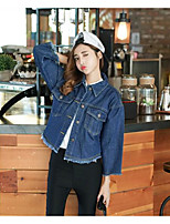 Women's Casual/Daily Simple Fall Denim Jacket,Solid Shirt Collar Long Sleeve Regular Others