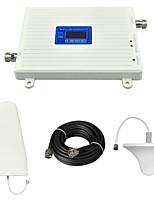 CDMA 850Mhz DCS 1800Mhz Mobile Phone Signal Booster Repeater with Ceiling Antenna / Log Periodic Antenna / Cable / LCD Display / Dual Band / White