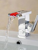 Contemporâneo Moderno Conjunto CentralVálvula Cerâmica Monocomando e Uma Abertura for  Cromado , Torneira pia do banheiro