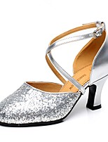 Non Customizable Women's Latin Paillette Heels Indoor Sequin Buckle Cuban Heel Silver 2