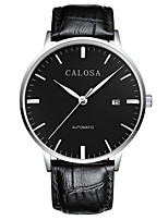 Men's Fashion Watch Mechanical Watch Automatic self-winding Calendar Water Resistant / Water Proof Leather Band Sparkle Black Brown
