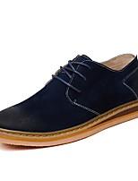 Men's Boots Comfort Cowhide Spring Summer Fall Office & Career Casual Walking Combat Boots Split Joint Flat HeelKhaki Pool Navy Blue