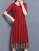 Women's Plus Size Casual/Daily Work Vintage Simple Chinoiserie Shift Dress,Striped Round Neck Midi Short Sleeve Others Summer Mid Rise