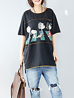 Women's Casual Simple T-shirt,Solid Print Round Neck ¾ Sleeve Cotton