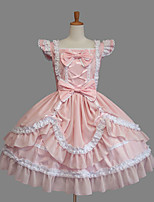One-Piece/Dress Sweet Lolita Classic/Traditional Lolita Princess Elegant Cosplay Lolita Dress Fashion Solid Color Cap Short SleeveShort /