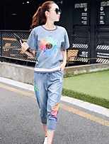 Women's Casual/Daily Simple T-shirt Pant Suits,Rainbow Round Neck Short Sleeve Denim Micro-elastic