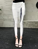 Feminino Color Block Cordão Bordado Legging