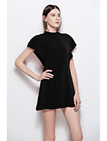 Women's Going out Party Cute A Line Sheath Dress,Solid Crew Neck Mini Sleeveless Chiffon Spring Summer Mid Rise Inelastic Medium