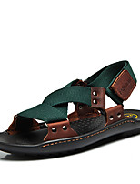 Genuine Leather Men's Sandals Comfort Light Soles Polyamide fabric Cowhide Spring Summer Casual Outdoor Office & Career Comfort Light Soles Ribbon Tie