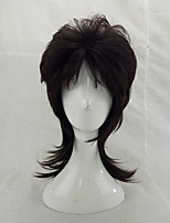 Male Medium Length Layered Synthetic Curly Hair Black Cosplay Wig
