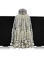 L.WEST Woman Fashion Luxury High-grade Imitation Pearl Tassel Evening Bag