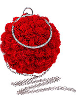 Women Evening Bag Polyester All Seasons Formal Event/Party Wedding Bowling Flower Clasp Lock Pinky Red
