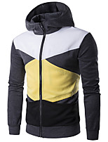 Men's Casual/Daily Simple Hoodie Color Block Round Neck Micro-elastic Cotton Long Sleeve Fall