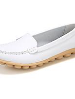 Для женщин Мокасины и Свитер Удобная обувь Кожа Лето Осень На каждый день Удобная обувь На плоской подошвеБелый Черный Оранжевый Желтый