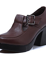 Women's Heels Formal Shoes Leather Spring Fall Casual Formal Shoes Chunky Heel Coffee Black 5in & over