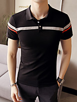 Men's Office/Career Casual Simple Polo,Solid Striped Shirt Collar Short Sleeve Polyester
