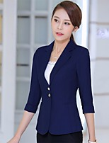 Women's Going out Club Sexy Sophisticated Spring Summer Suit,Solid V Neck 3/4 Length Sleeve Regular Cotton