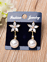 Cubic Zirconia Earrings with Pearls Wedding Party Jewelry rose Gold Color