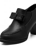 Для женщин Обувь на каблуках Дерматин Полиуретан Лето Осень Для прогулок Бант На толстом каблуке Черный Бежевый Красный 4,5 - 7 см