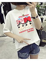 Women's Going out Casual/Daily Simple T-shirt,Solid Round Neck Short Sleeve Polyester