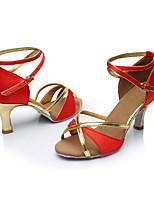 Maßfertigung Damen Latin Seide Sandalen Innen Maßgefertigter Absatz Rot