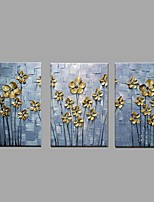 Hand Painted Oil Painting Knife Golden Flower Wall Art Home Office Decor with Stretched Framed Ready to Hang