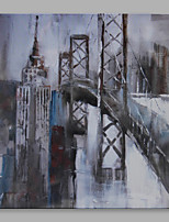 Abstract Oil Painting The Grey City and Bridge Framed Handmade Oil Painting For Home Decoration