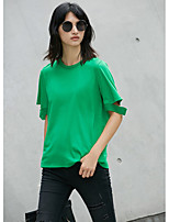 AMIIWomen's Daily Casual Simple T-shirtSolid Round Neck Short Sleeve Cotton