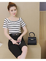 Damen einfarbig Einfach Lässig/Alltäglich T-Shirt-Ärmel Rock Anzüge,Rundhalsausschnitt Sommer Kurzarm