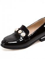 Для женщин Обувь на каблуках Дерматин Полиуретан Лето Осень Для прогулок Искусственный жемчуг Блочная пятка Черный Военно-зеленный2,5 -