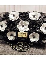 Women Shoulder Bag PU All Seasons Flap Push Lock Black Gold