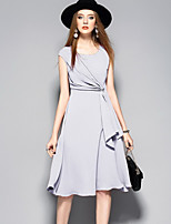 ANGEL Women's Going out Casual/Daily Sophisticated A Line DressSolid Round Neck Knee-length Sleeveless Rayon Polyester Spring Summer High Rise