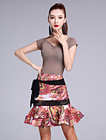 Latin Dance Outfits Women's Performance Ice Silk Pattern/Printing 2 Pieces Short Sleeve Natural Tops / Skirts
