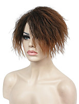 Fashion Short Wavy Curly Brown heat Resistant Full Synthetic cosplay/Party Wig