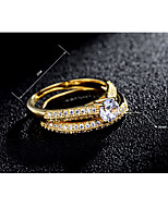 AAA Cubic Zirconia Fashion Classic Elegant Zircon Silver Plated Gold Plated Round Jewelry For Wedding Party Engagement Daily 1 Set
