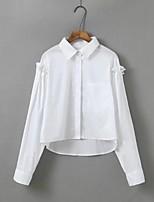 Tee-shirt Femme,Couleur Pleine Décontracté / Quotidien Sortie Sexy simple Chic de Rue Eté Manches Longues Col de Chemise Coton Moyen Fin
