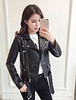 Women's Leather Jacket Shirt Collar Long Sleeve
