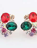 Euramerican Delicate Luxury Flower Rhinestone Multicolor Women's Daily Party Clip Earrings Gift Jewelry