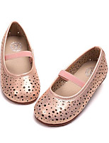 Girls' Flats Comfort Leather Spring Fall Outdoor Casual Walking Magic Tape Low Heel Screen Color Light Pink Silver Flat