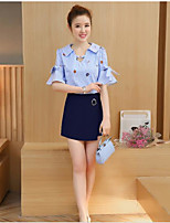 Women's Casual/Daily Sexy T-shirt Skirt Suits,Solid Striped V Neck ½ Length Sleeve strenchy
