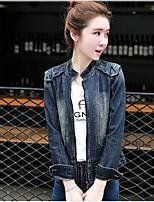 Veste en jean Femme,Couleur Pleine Quotidien Décontracté Printemps/Automne Manches longues Col de Chemise Normal Toile de jean