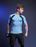 Homme Manches Courtes Course / Running Tee-shirt Printemps Eté Vêtements de sport Football Sports de neige Course/Running Polyester Serré