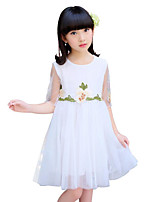 Girl's Solid Color Lace Flower Dress,Cotton Polyester Summer Sleeveless