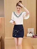 Damen einfarbig Einfach Ausgehen Lässig/Alltäglich Bluse Kleid Anzüge,V-Ausschnitt Sommer